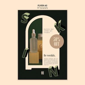 Folheto vertical para exibição de frasco de óleo essencial com letras tridimensionais