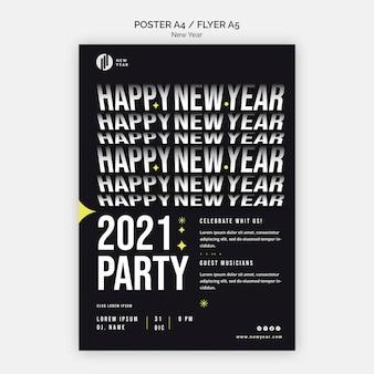 Folheto vertical para festa de ano novo
