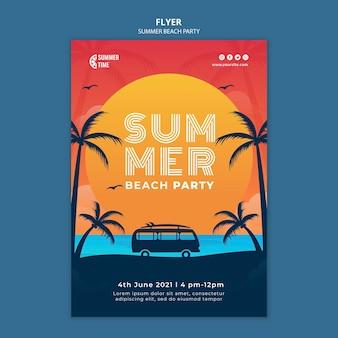 Folheto vertical para festa de verão na praia