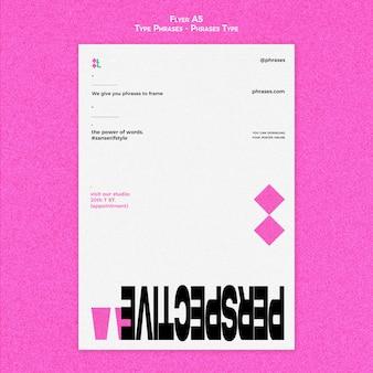 Folheto vertical para frases de tipo