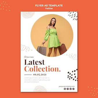 Folheto vertical para loja de compras de moda