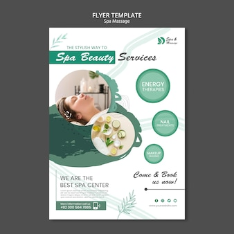 Folheto vertical para massagem spa com mulher