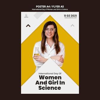 Folheto vertical para mulheres e meninas internacionais no dia da ciência