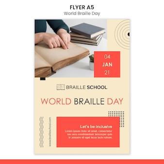 Folheto vertical para o dia mundial do braille