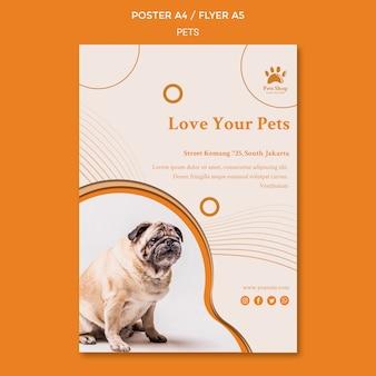 Folheto vertical para pet shop com cachorro