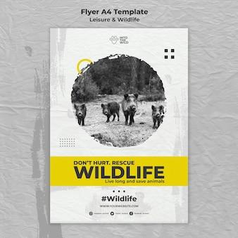 Folheto vertical para proteção da vida selvagem e do meio ambiente