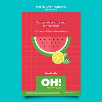 Folheto vertical para receitas de smoothies de frutas