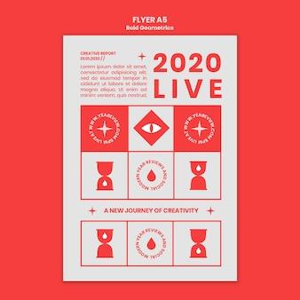 Folheto vertical para revisão e tendências de ano novo