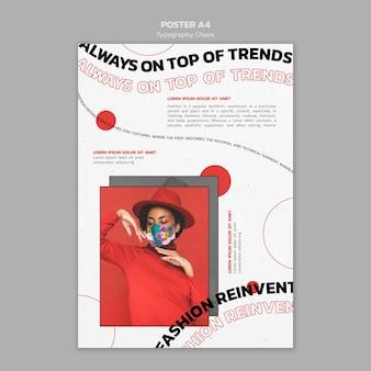 Folheto vertical para tendências da moda com mulher usando máscara facial