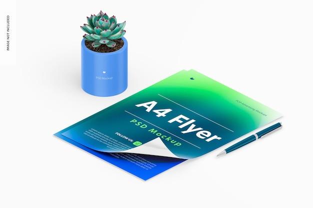 Folhetos a4 com maquete de vaso de plantas