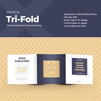 Folhetos com três dobras quadradas de maquete