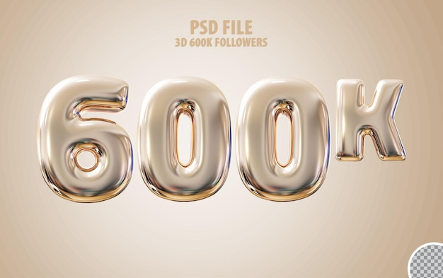 Follower 600k 3d de luxo dourado