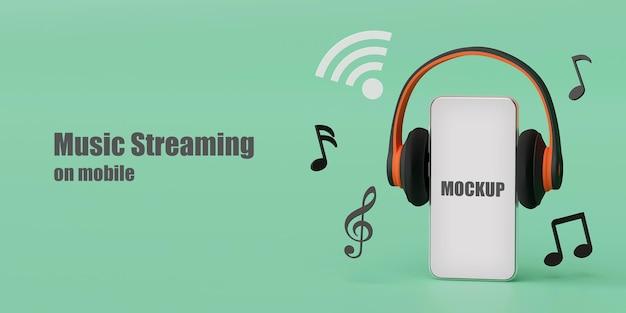 Fone de ouvido com renderização 3d de maquete de smartphone