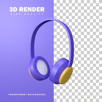 Fone de ouvido de renderização 3d para ouvir música.