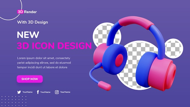 Fone de ouvido moderno conceito de modelo de banner 3d