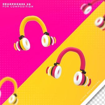 Fones de ouvido 3d para composição