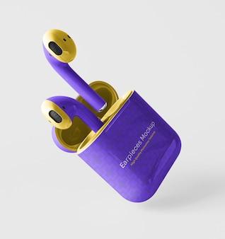 Fones de ouvido com maquete de embalagem