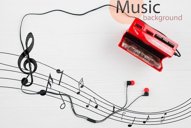 Fones de ouvido conectados em cassete contemporânea