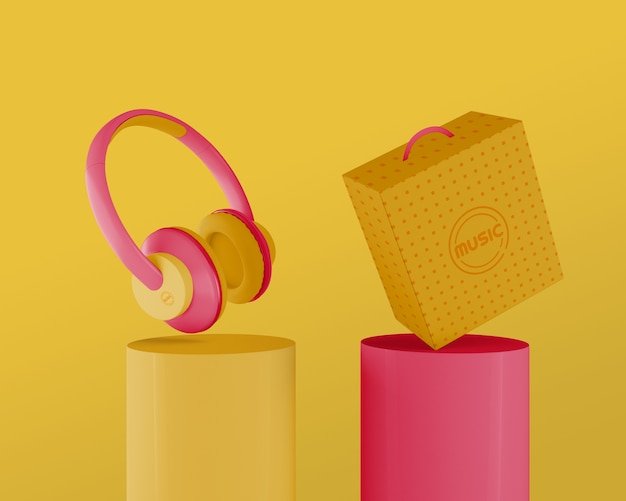 Fones de ouvido dos anos 80 em fundo amarelo