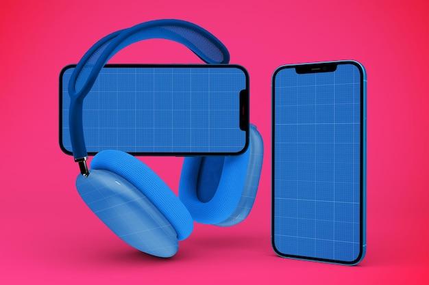 Fones de ouvido e maquete de smartphone