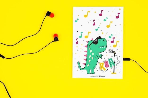 Fones de ouvido e partituras com conceito de música