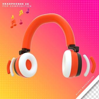 Fones de ouvido laranja 3d render para composição