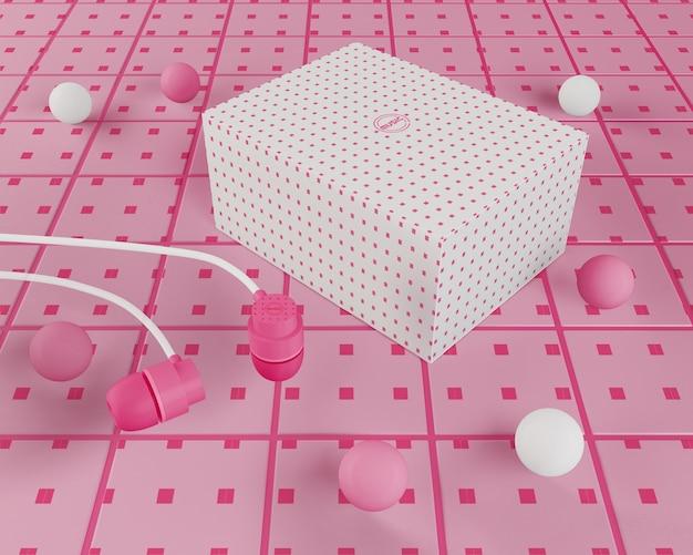 Fones de ouvido rosa com cabo e caixa