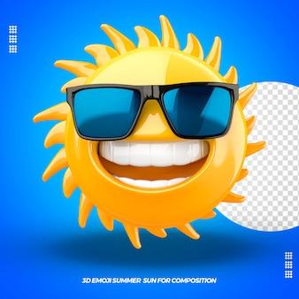 Fonte de emoji 3d com óculos e isolada