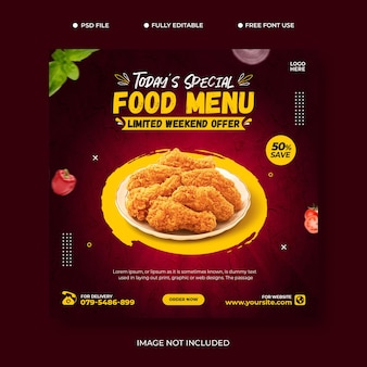 Food media social promoção banner post design template set psd grátis