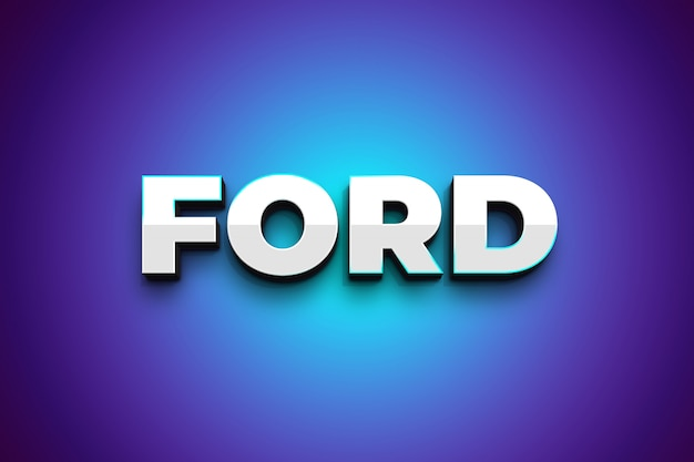 Ford 3d efeito de estilo tex prata