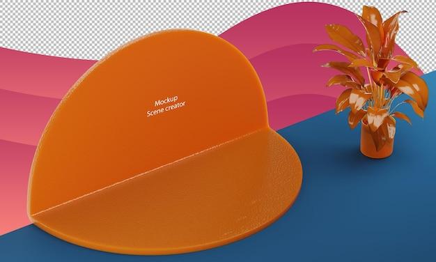 Forma de círculo de cena abstrata representa a maquete do produto em gel de laranja com uma pequena planta