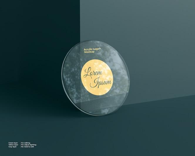 Forma de círculo de maquete de vidro acrílico logotipo