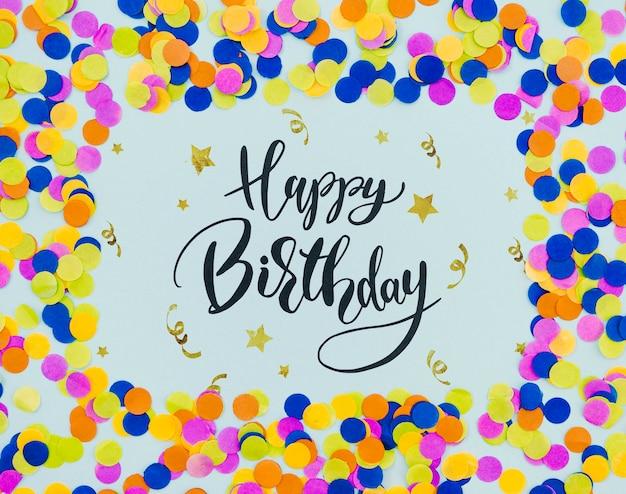 Forma de quadro de confetes de festa feliz aniversário