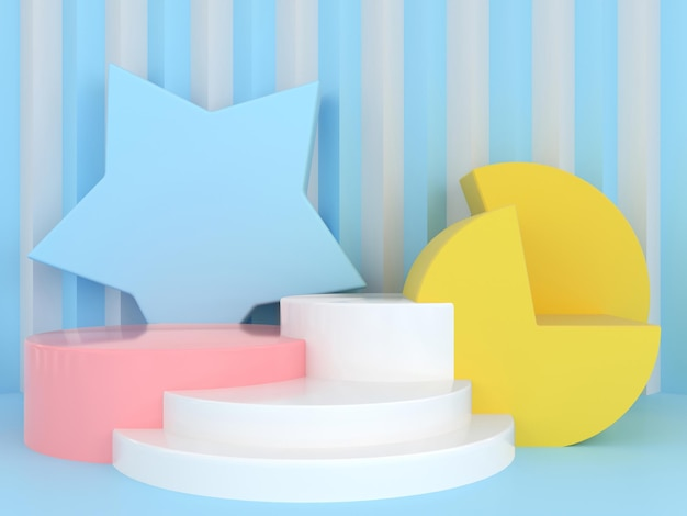 Forma geométrica abstrata modelo de cor pastel conceito mínimo de estilo moderno