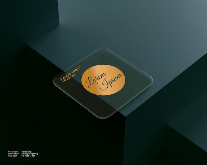 Forma quadrada de maquete de vidro acrílico logotipo