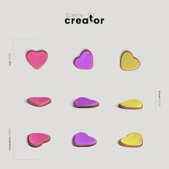 Formas de coração para criador de cena