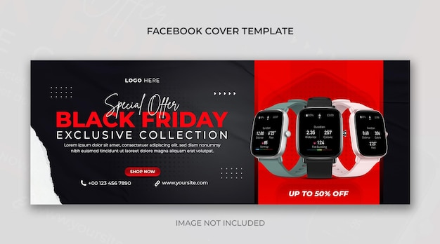 Foto da capa do facebook ou banner horizontal psd de venda de relógio de sexta-feira negra