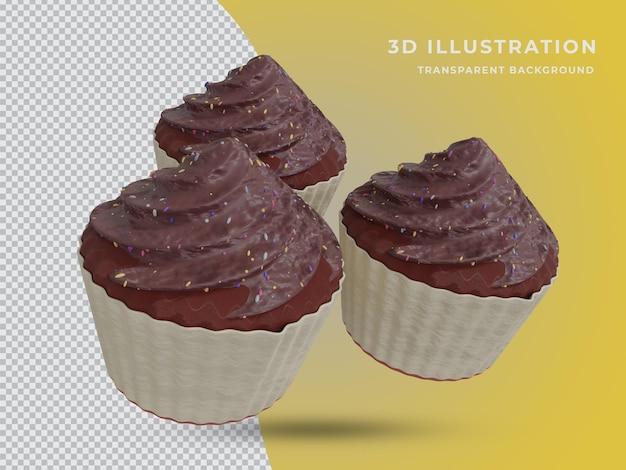 Foto de três bolos de chocolate renderizada em 3d de alta qualidade