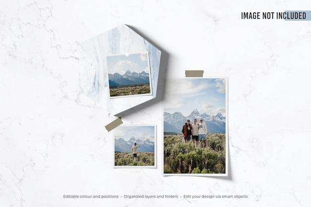 Foto polaroid de moodboard em maquete de mármore