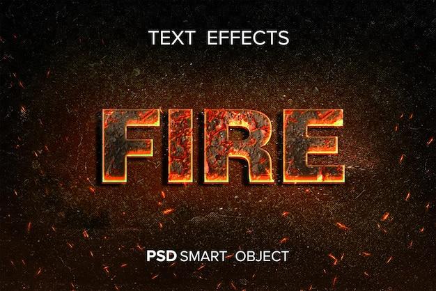 Fotoshop de efeito de texto de fogo com flying spark