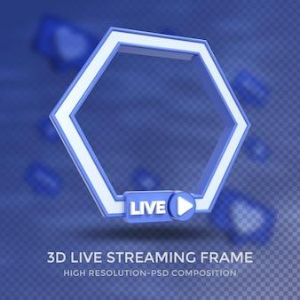Frame 3d de perfil poligonal para transmissão ao vivo nas redes sociais