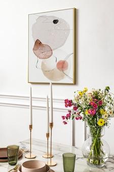 Frame mockup psd e mesa de jantar em uma moderna sala de jantar estética boho chic