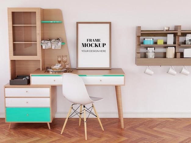 Frame mockup realista na mesa moderna