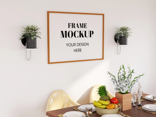 Frame mockup realista na sala de jantar