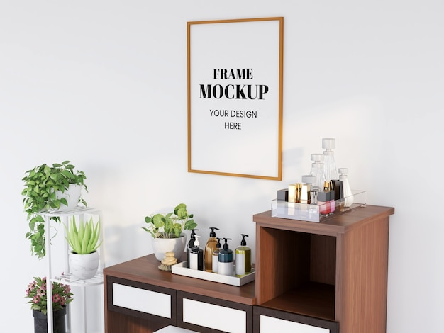 Frame mockup realista na sala de maquiagem