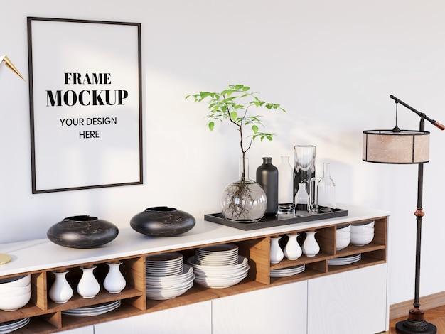 Frame mockup realístico na cozinha moderna