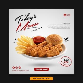 Frango de modelo de comida de banner de postagem de mídia social