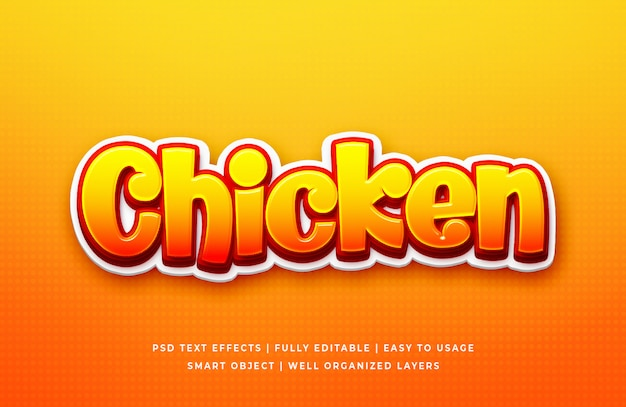 Frango jogo efeito de estilo de texto 3d