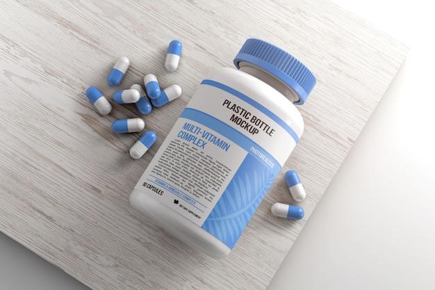 Frasco com pílulas na maquete de superfície de madeira
