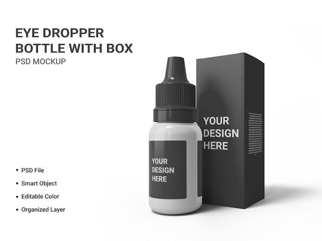 frasco conta-gotas com caixa de maquete isolada